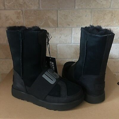 e503b24ef16 UGG CONNESS WATERPROOF Black Logo Suede Leather Zip Short Boots Size ...