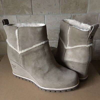 cb9958a1fb3 Ugg Marte Antilope Suede Waterproof Wedge Ankle Boots Booties Size 7 Womens