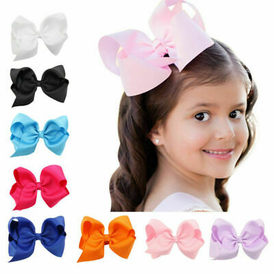 20pcs Baby Kids Girls Large Hair Bows Alligator Clips Boutique Grosgrain Ribbon