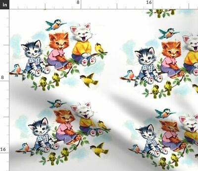 Cat Vintage Retro Cats Kittens Birds Clouds Fabric Printed by Spoonflower BTY