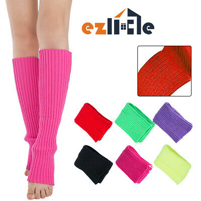 Womens Leg Warmers Disco Winter Knit Dance Party Crochet Legging Socks Costume