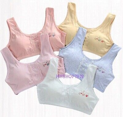2pcs Girls Bra Crop Top Underwear Adjustable Bras Cotton White Age 9-12 years
