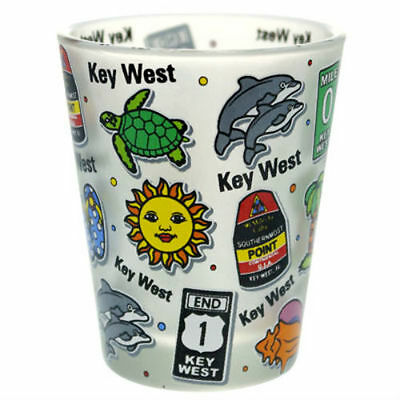 Key West Florida Landmarks And Icons Collage Frosted Shot Glass Shotglass