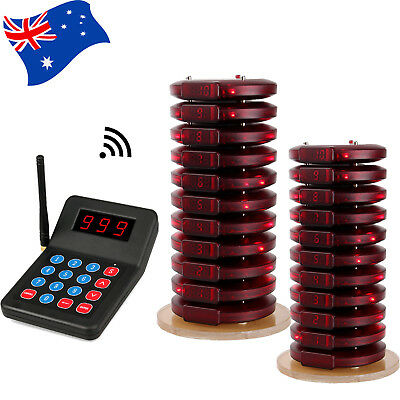 433MHz Restaurant Cafe Wireless Paging Queuing System Keypad+20*Coaster Pager AU