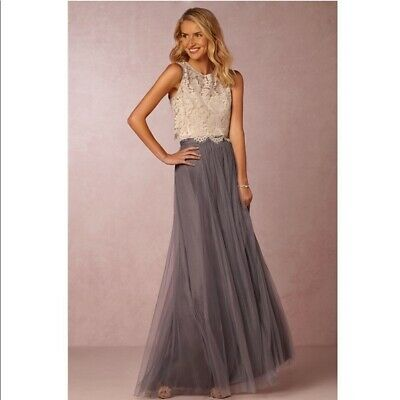 5f018d2f92 BHLDN Jenny Yoo Louise Collection Women s Gray Tulle Maxi Skirt 6  225
