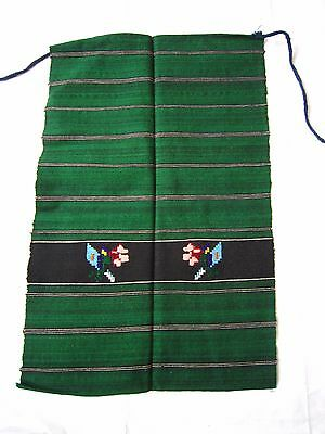17-18c HANDMADE APRON DRESS GREEN WOOL NATURAL COLOR FLOWERS EMBROIDERY #VINTAGE