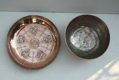 Antique Set Bowl Dish Qajar islamic art fine ornaments 1.355 grams copper tin