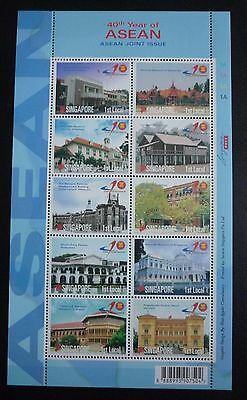 Singapore Stamps 40th Year of Asean Joint Issue 2007. Stamp sheet 10 stamps MNH