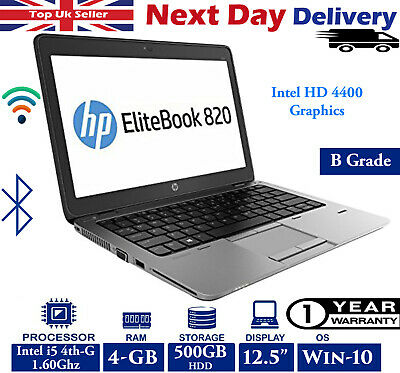 "HP EliteBook 820 G1 12.5"" LED Laptop Intel i5 4th-Gen 1.6Ghz 4GB 500GB HDD Win10"