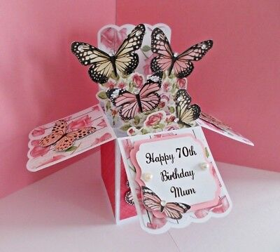 HANDMADE PERSONALISED BUTTERFLY POP UP BOX BIRTHDAY CARD 60th 70th 80th 90th