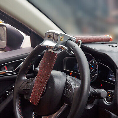 Car Top Mount Steering Wheel Anti Theft Security Lock Safe Devices Brown 2 keys