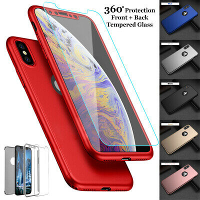 For iPhone XS MAX XR 8 7 6 5 Plus 360° Full Protection+Tempered Glass Case Cover