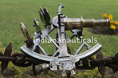"Vintage Navy Brass Sextant 9"" Nautical Maritime Astrolabe Ship Instrument Item."