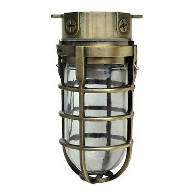 Antique Brass Ceiling Light Fixture Industrial Outdoor Metal Flush Mount Cage