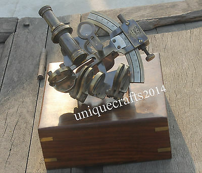 Handmade Solid Brass Nautical Sextant With Box Maritime Royal Navy Working Gift
