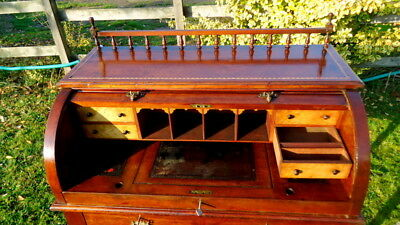 """VICTORIAN - EDWARDIAN. """"Roll Top Desk"""" with Adjustable Writing Slope."""