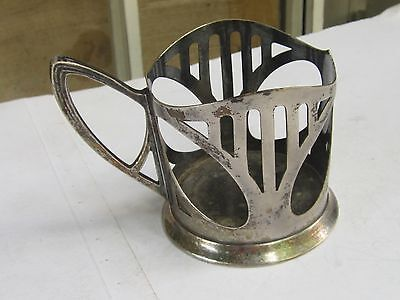Wmf Art Nouveau Silverplate Pewter Glass Holder Marked-1900