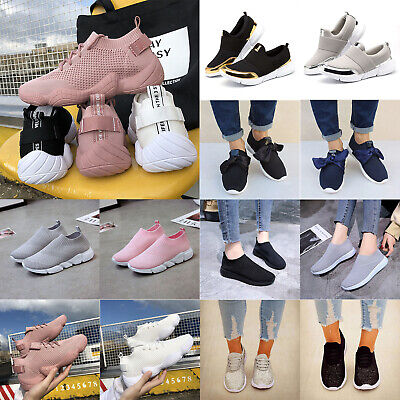 Womens Ladies Sneakers Trainers Sock Runners Comfy Slip Lace On Knit Gym Shoes