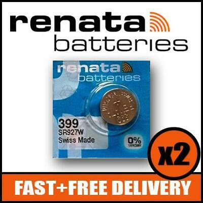 399 Watch Battery x2 - SR927W - Renata 1.55v Mercury Free