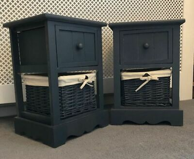 2 x NEW BEDSIDE NIGHTSTANDS GREY READY ASSEMBLED WITH WICKER BASKET SIDE TABLES