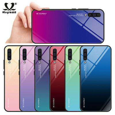 For Samsung Galaxy A30 A50 M30 Gradient Tempered GLASS Hard BACK Slim Case Cover