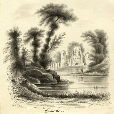 Landscape with Ruined Abbey - Original early 19th-century watercolour painting