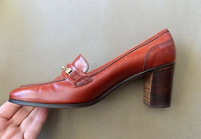 *NEW Vintage 1970s Farnesina Italian Brown All Leather Women's Shoes