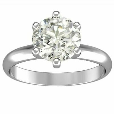 3.01 ct ROUND CUT solitaire diamond engagement Ring 14k WHITE GOLD D VS2-SI1