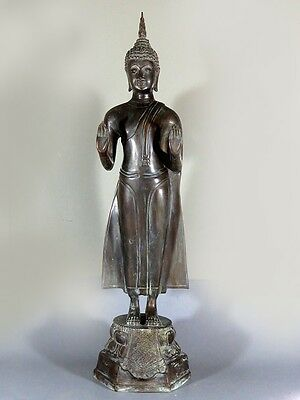 "25"" Tall Antique Bronze Buddha Standing "" stopping the rainstorm"" Cheap Look"