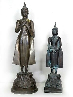 "19 6/8"" and 15"" Of 2 Beautiful Antique Bronze Buddha Standing Don't Miss"