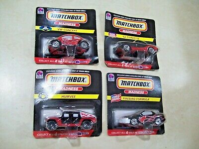 Set of 4 1998 Matchbox Madness Taco Bell (Firebird, VW, Humvee '62 Corvette)