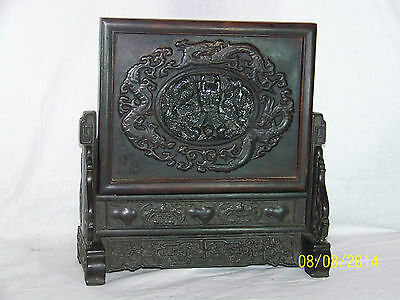 Antique Chinese Hand Carved Spinach Jade Dragon Table Screen