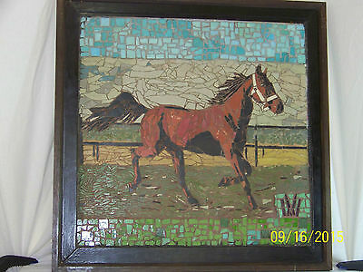 """Old"" ""Large"" Micro-mosaic of Tile-Horse- Hand Done-Signed Monogram Framed"