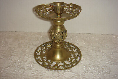 VTG Reticulated Pierced Brass Candle Stick Holder Rustic BoHo Decor Display