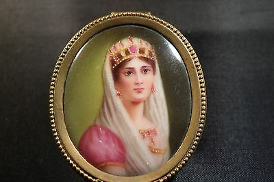 Antique French Oval Brass Box With H.p. Porcelain Figure Of Woman