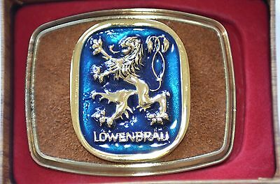 Lowenbrau Belt Buckle 24K Gold Overly USA Vintage 1981 Very Cool Beer Man Cave