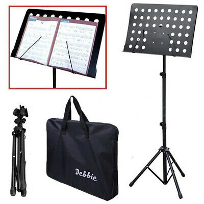 Heavy Duty Foldable Music Stand Conductor Sheet Holder Tripod Base W/Carry Bag