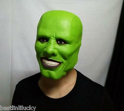 horror head mask green Jim carrey Latex devil Loki prop Masquerade unisex party