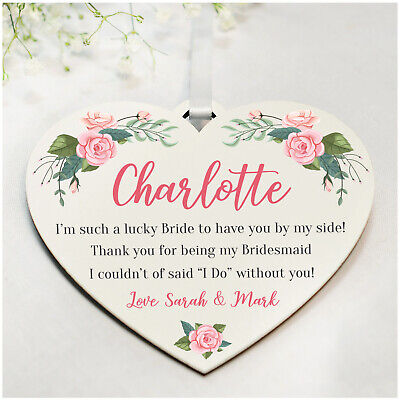 Personalised Bridesmaid Maid of Honour Thank You Gifts Wedding Party Plaque Gift