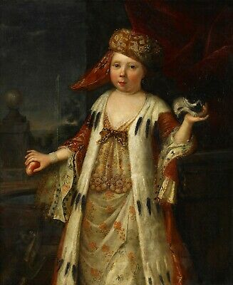 Antique 18th Century French Oil painting on Canvas : Portrait of Girl with Peach