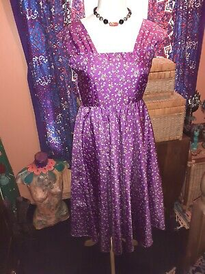 Vintage 50s/60s Sundress Purple Ditzy Floral/ Handmade ?/rockabilly 14