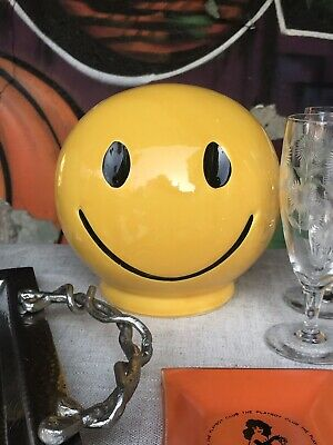 1970s Vintage Ceramic Yellow Smiley Face Bank- Great Condition!