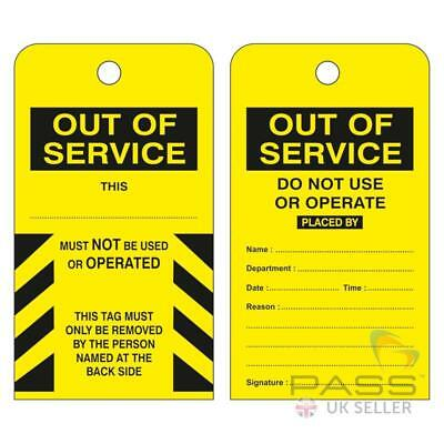 Lockout Tags - ''Out Of Service - Do Not Use or Operate'' - Pack of 10 - Yellow