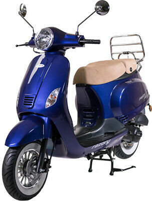 Razory R07 50ccm Motorroller Royal Blue metallic Scooter Retroroller Mofa 25km/h