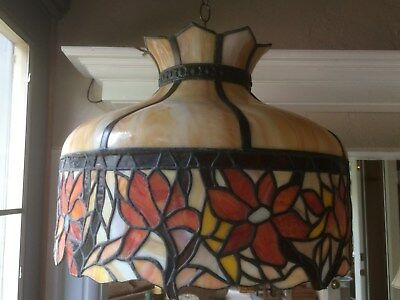Stained Glass with Raised Fruit Chandelier c.1920