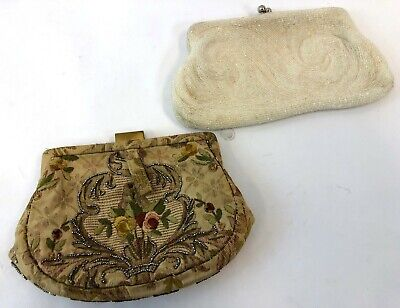 """Vintage Pair 5"""" Walborg Swirl Beaded & Woven Tapestry Evening Cocktail Purses"""