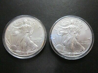 Lot of TWO American Silver Eagle bullion coins. 2018 & 2019.