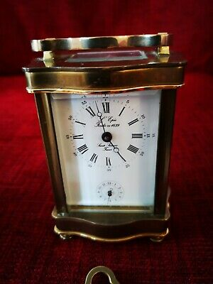 L'epee French 8 Day 11 Jewel Carriage Brass Alarm Clock
