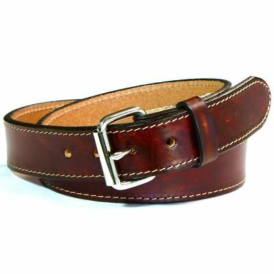 Men new genuine heavy duty leather antique brown strap belt made in the USA