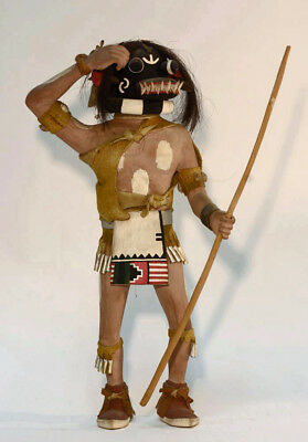 Large Antique Hopi Indian Black Ogre Kachina, Katsina; 1950-1960